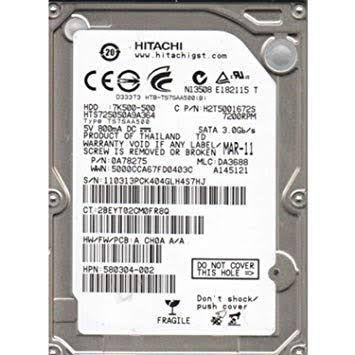 DISCO RIGIDO P/ NOTEBOOK 500GB SATA II 5400RPM HCC5450A7E380 - HITACHI