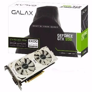 PLACA DE VIDEO GTX 950 2GB GDDR5 128 BITS EXOC C/ BACKPLATE E LED BRANCO 95NPH8DVE8EW - GALAX