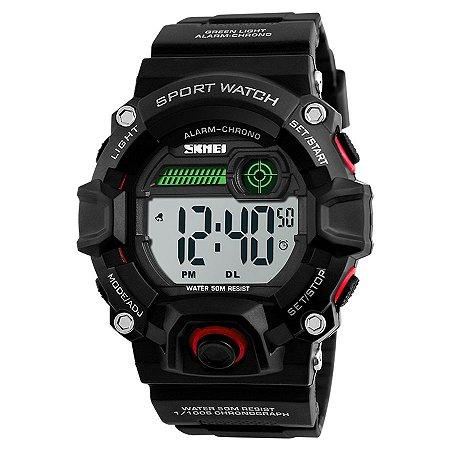 4053fb7f9d1 Relógio Masculino Skmei Digital 1242 - Preto Vermelho - Shecom