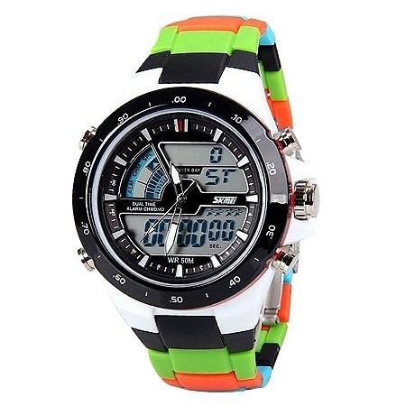 91398f01757 Relógio Masculino Skmei Anadigi 1016 Colorido