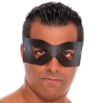 Máscara Masculina em Couro Sintético Preta - LS008