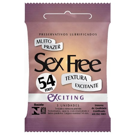 Preservativo Lubrificado Sex Free Exciting com 3 Unidades - SEX001