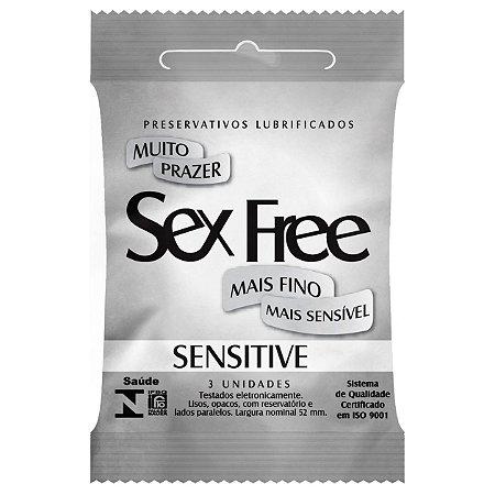 Preservativo Lubrificado Sex Free Sensitive com 3 Unidades - SEX012