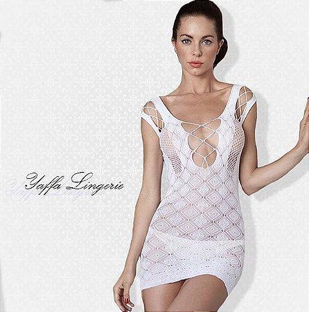 Mini Vestido White Rendado com Detalhes Trançados Yaffa - Y3417
