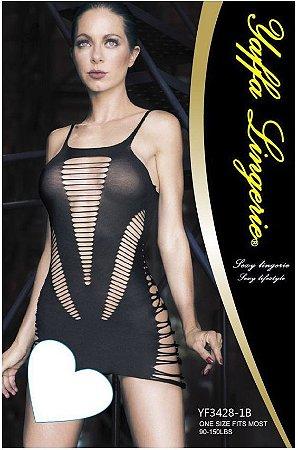 Mini Vestido com Decote na Frente e nas Costas Yaffa Lingerie - Y3428