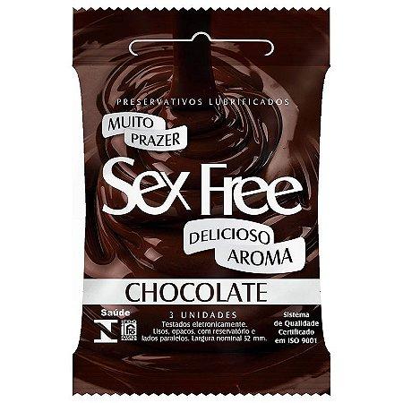 Preservativo Lubrificado Sex Free Chocolate com 3 unidades - SEX009