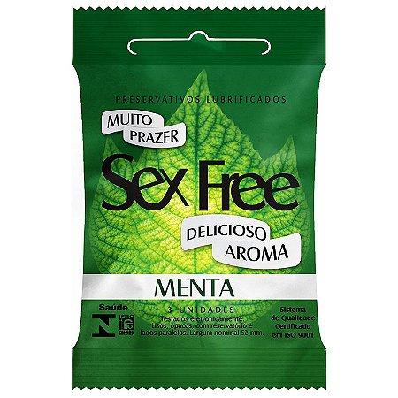Preservativo Lubrificado Sex Free Menta com 3 unidades - SEX004