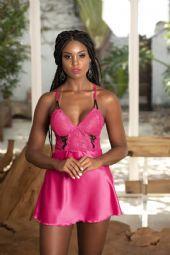 Camisola em cetim com renda Cor Pink Tam G - 02142