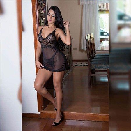 Camisola em renda com tule transparente - 0637
