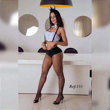 Fantasia de coelha com top, mini short com rabinho, tiara e gravatinha - 00133