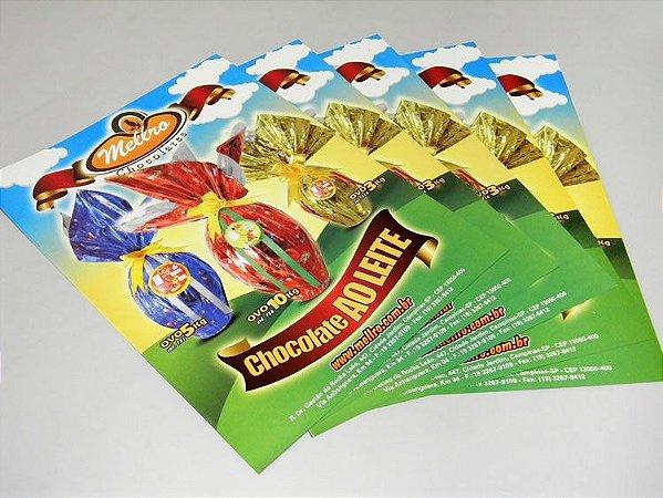 Folhetos 10x14cm - Couchê 90g - Colorido Frente + Arte