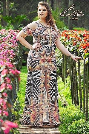 vestido longo Longo com fenda e tule decote.