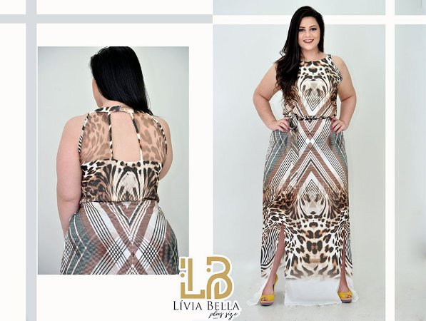 Vestido  animal print longo com fendas frontais .