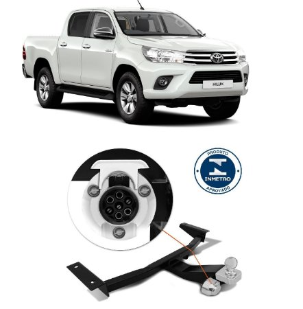 Engate de reboque Hilux Pick up reforçado 1000Kg fixo