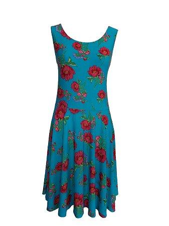 Vestido Plus Size Floral Azul
