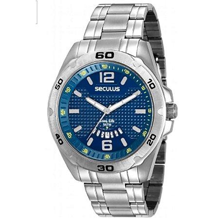 b7846a94fa7 Relógio Seculus Masculino + Calendário 2 anos de garantia - W E RELÓGIOS