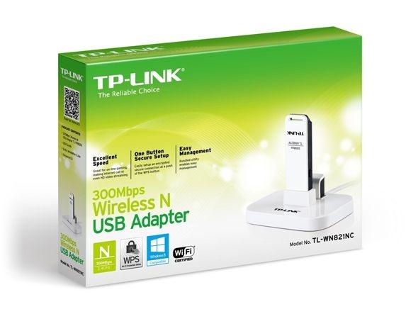 Adaptador USB Wireless N TP-Link TL-WN821NC 300Mbps c/ base e cabo extensão