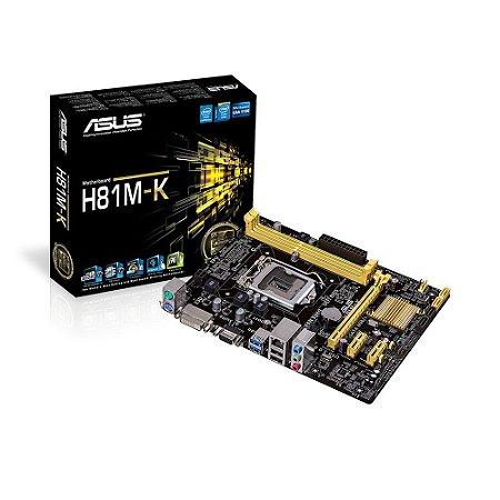 Placa-Mãe Asus H81M-K para processadores Intel Pentium i3 i5 i7 socket LGA 1150 DDR3 VGA / SOM / LAN