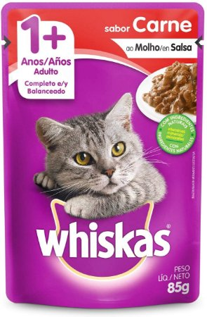 Ração Úmida Whiskas Sachê Carne ao Molho Gatos Adultos
