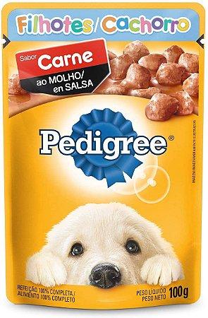 Ração Úmida Pedigree Sachê Carne ao Molho Cães Filhotes