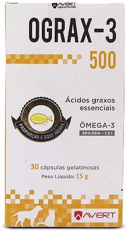 Ograx-3 500 30 caps Avert Suplemento Pele Cães e Gatos