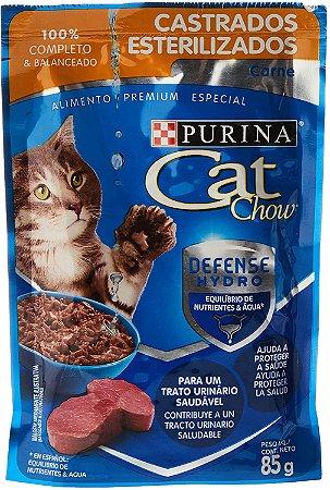 Cat Chow Wet Sache Castrados Carne Ao Molho 85G