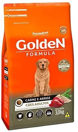 Ração Golden Fórmula para Cães Adultos Carne e Arroz 3Kg