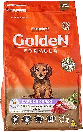 Ração Golden Formula Cães Filhotes Raças Pequenas Carne e Arroz 3Kg