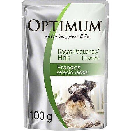 Ração Úmida Premium para Cães Adultos Raças Pequenas Frango Optimum Sachê - 100g