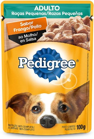 Ração Úmida Pedigree Sachê Frango ao Molho Cães Adultos de Raças Pequenas 100G
