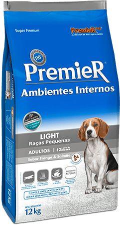 Ração Premier Ambientes Internos Light Cães Adultos Frango e Salmão 12kg