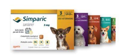 Antipulgas Zoetis Simparic para Cães (1,3 à 2,5kg, 2,6 a 5 Kg, 5,1 à 10kg e 10,1 à 20kg)