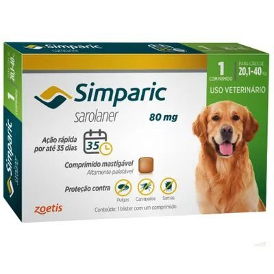 Antipulgas Cães Simparic 80mg 20,1 à 40kg Zoetis
