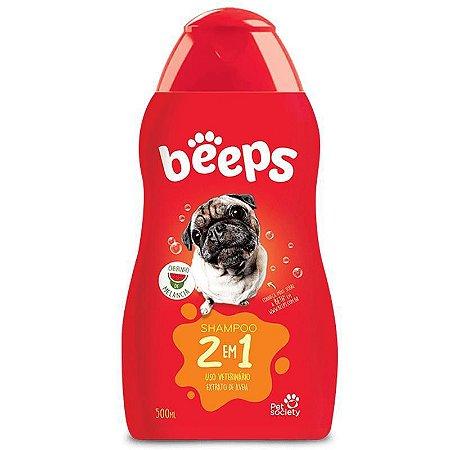 Shampoo Pelos Curtos 2 Em 1 Beeps 500ml p/ Cães e Gatos Pet Society