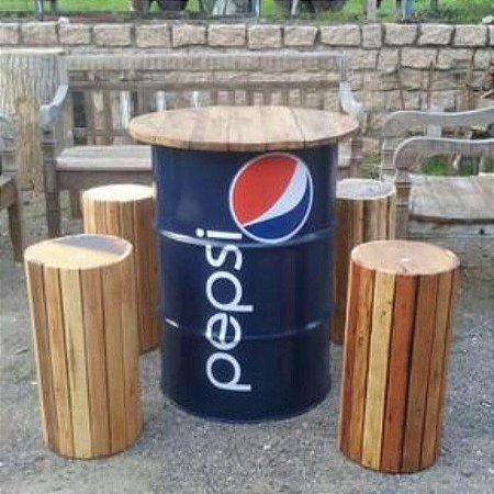 mesa alta bistrô de barril tonel tambor com banquetas