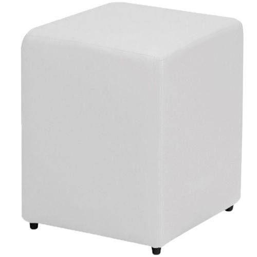 Puff Quadrado Box Couro Ecológico Preto / Branco