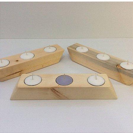 Conjunto com 3 unidades Porta velas de pinus