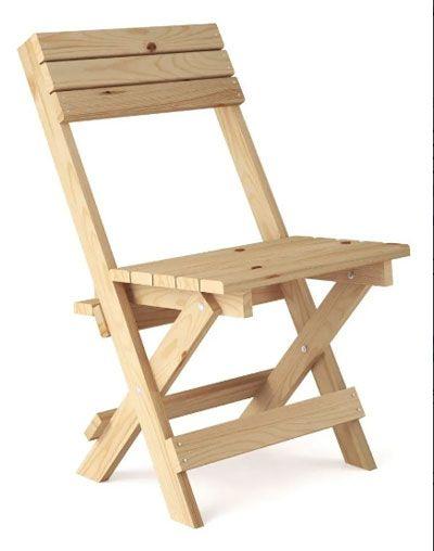 Cadeira dobrável de pinus