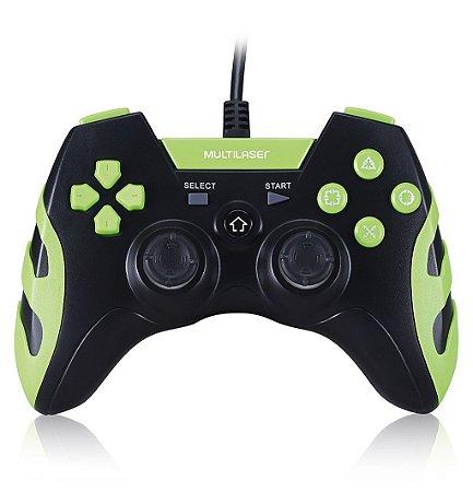 Controle com Fio PS3/PS2//PC Preto e Verde Multilaser JS081