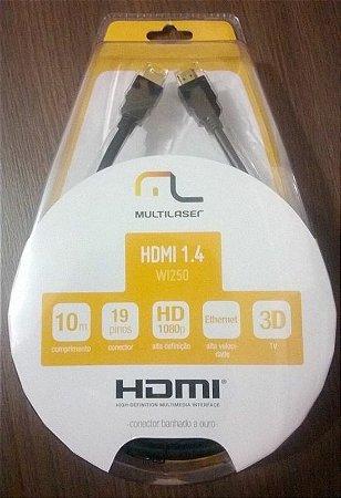 Cabo Conector HDMI 1.4 Multilaser com conector banhado a ouro - 10m