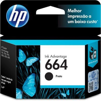 Cartucho HP 664 preto Original (F6V29AB)