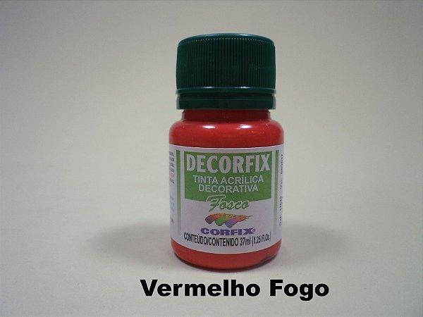 Tinta Acrílica DECORFIX - Brilhante- 37 ml. - Vermelho Fogo