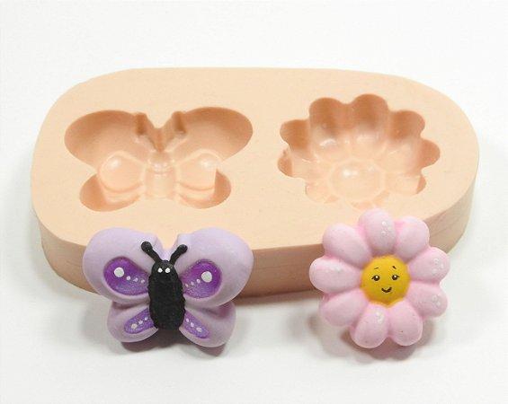 262 - Borboleta e flor médias