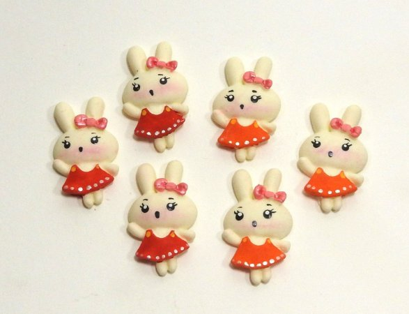 APLIQUES P/ LAÇOS - Coelhinhas de biscuit - pacote c/ 6 unid.
