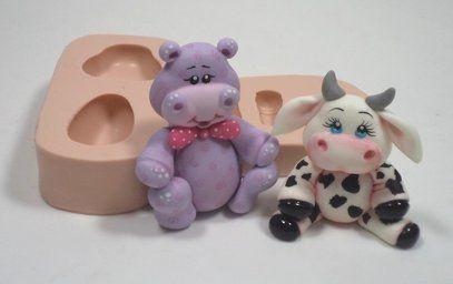 948 - Hipopótamo e vaca 3D