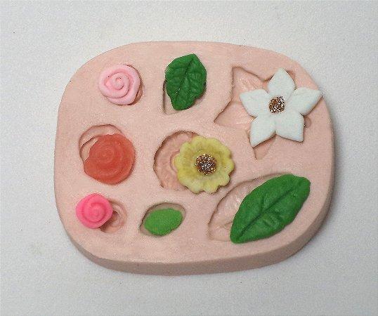 159 - Flores e folhas minis