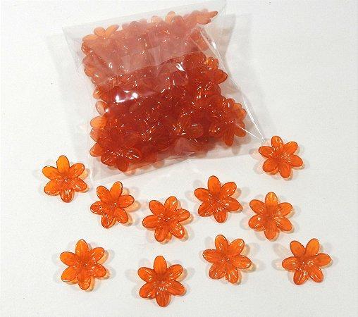Flores de plástico laranja escuro - pacote com 50 gr.