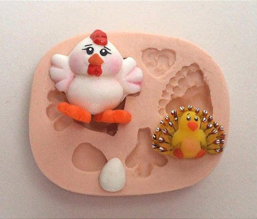 520 - Galinha e pavão mini