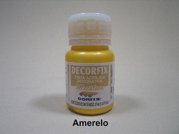 Tinta Acrílica Metálica DECORFIX - 37 ml - Amarelo