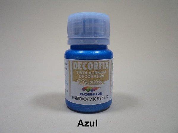 Tinta Acrílica Metálica DECORFIX - 37 ml - Azul